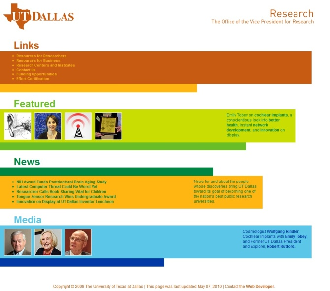 UT Dallas Office of Research Homepage Redesign 2010